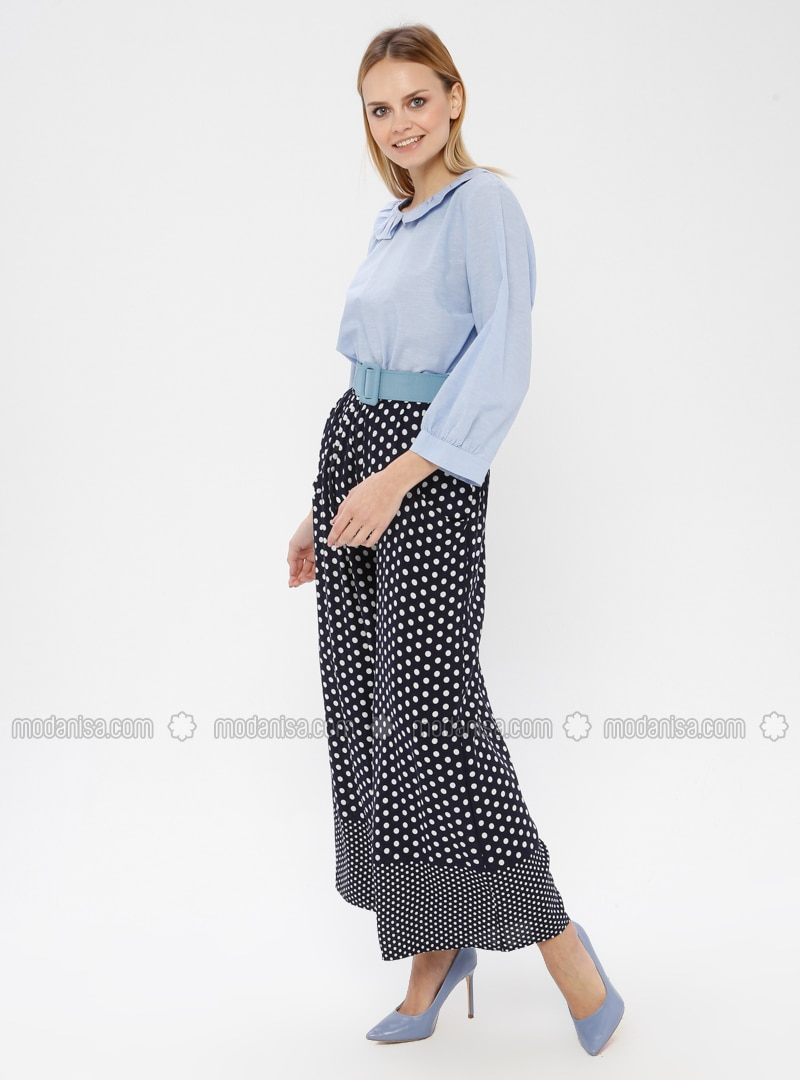 778e0b5c23 Navy Blue - Polka Dot - Pants