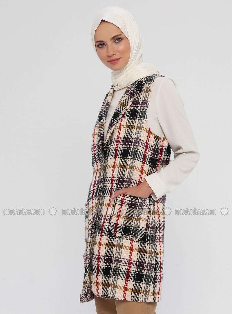 Stone - Plaid - Unlined - Shawl Collar - Cotton - Vest