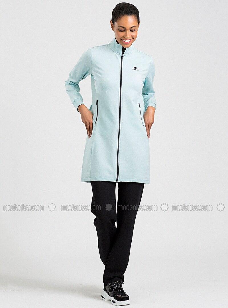 Blue - Black - Cotton - Polo neck - Tracksuit Set