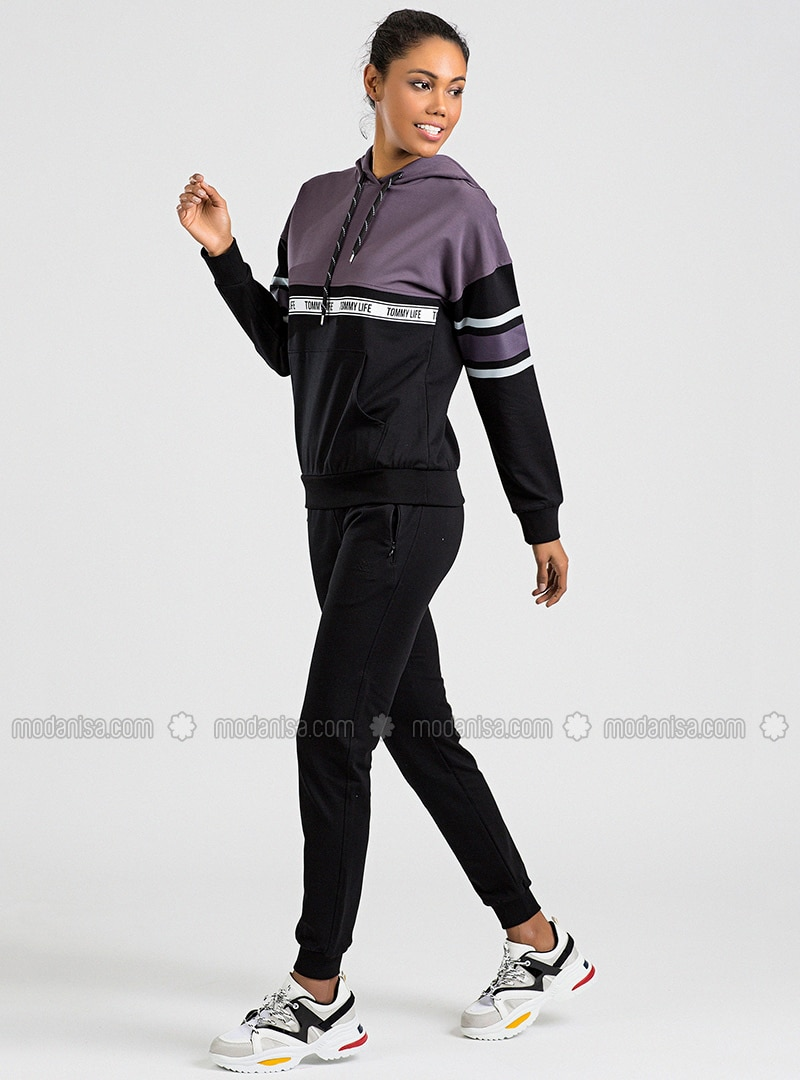 Black - Purple - Cotton - Tracksuit Set