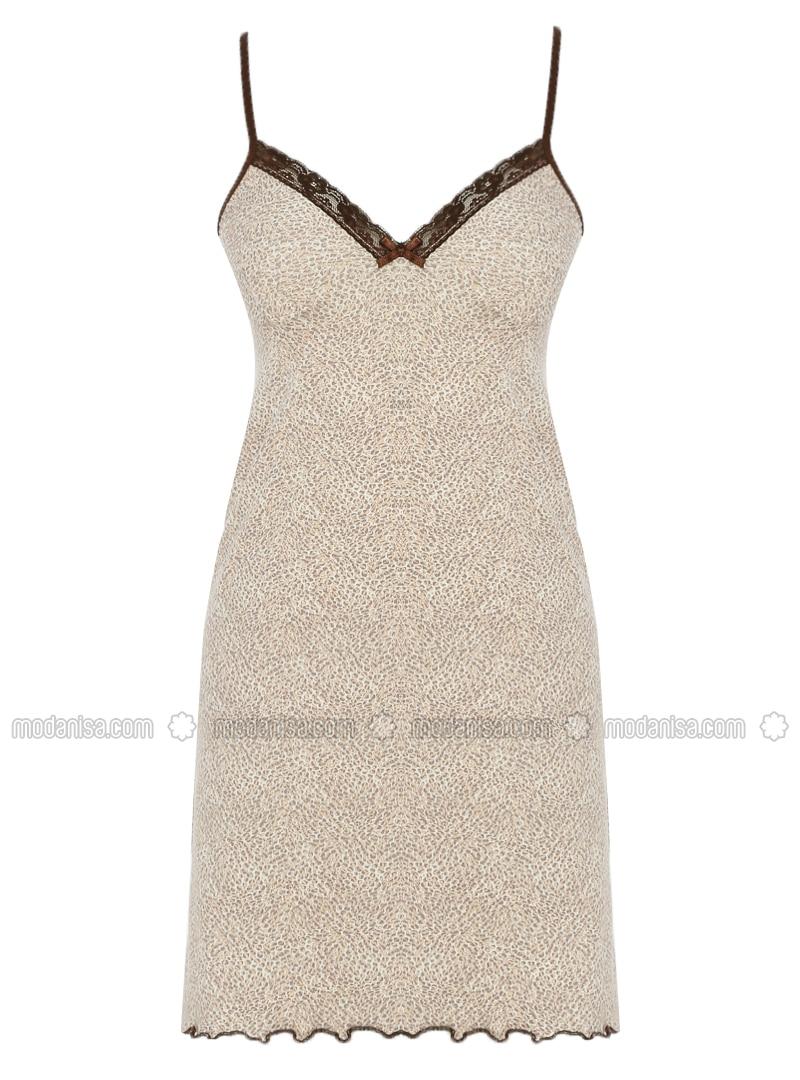 Brown - Ecru - Multi - V neck Collar - Cotton - Nightdress