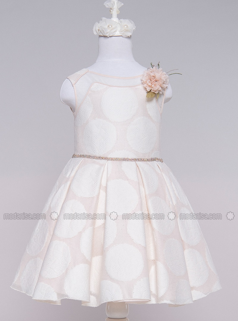 Multi - Crew neck - Cotton - Viscose - Fully Lined - Ecru - Girls` Dress