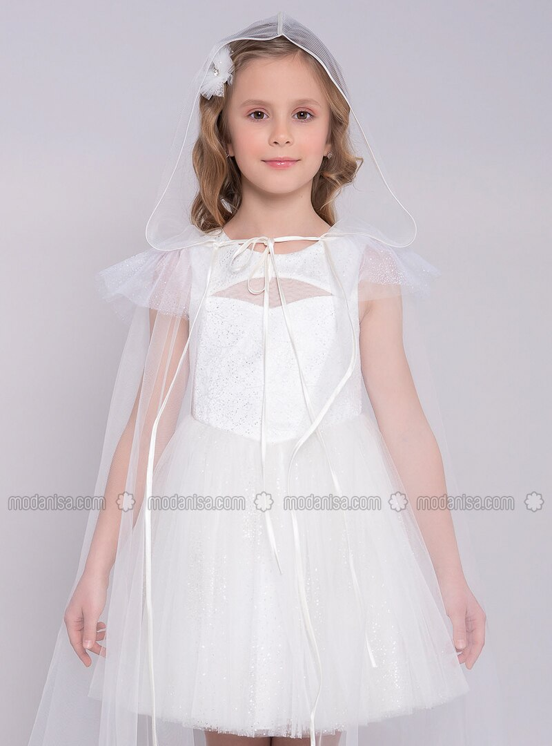 Crew neck - Fully Lined - Ecru - Girls` Dress