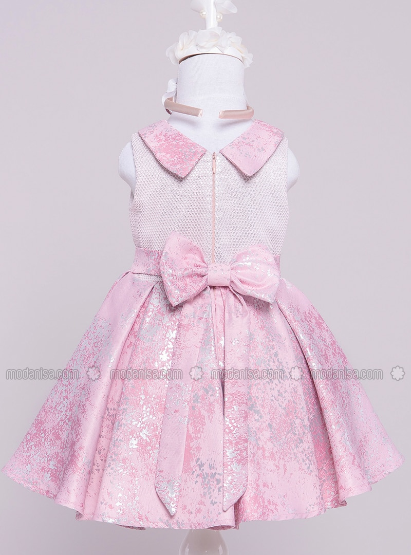 9dbf6647c6f Round Collar - Fully Lined - Dusty Rose - Girls` Dress