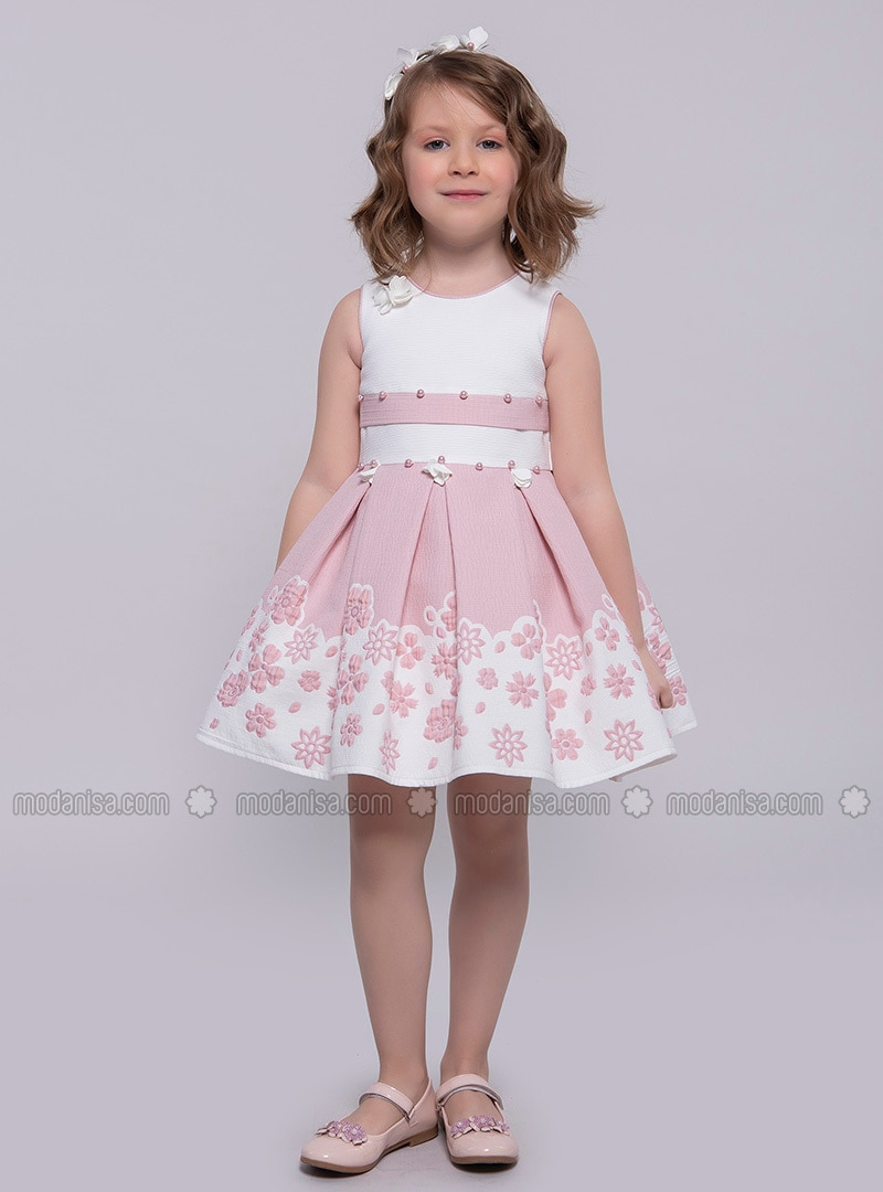 7f9b2409a81 Multi - Crew neck - Fully Lined - Dusty Rose - Girls` Dress