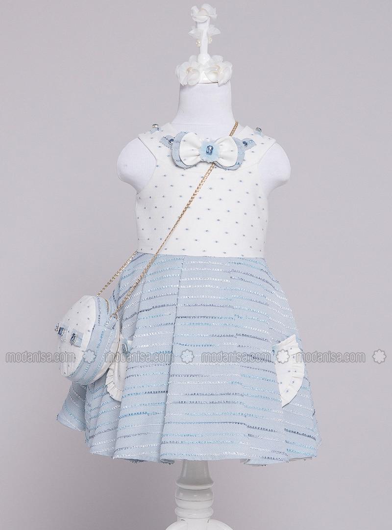 Multi - Crew neck - Fully Lined - Blue - Girls` Dress
