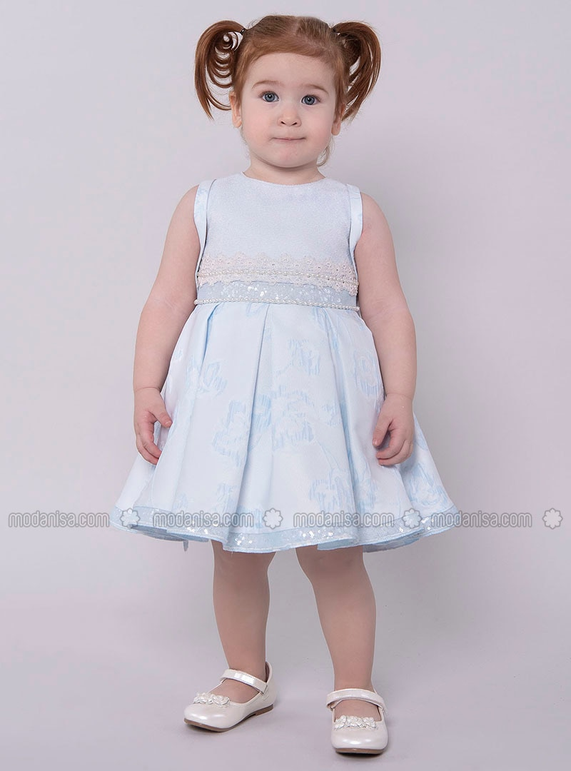 Multi - Crew neck - Fully Lined - Blue - Girls` Dress