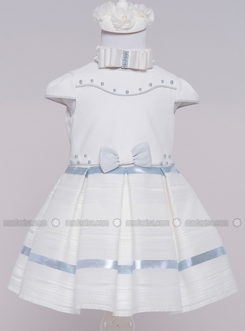 Crew neck - Cotton - Fully Lined - Blue - Girls` Dress