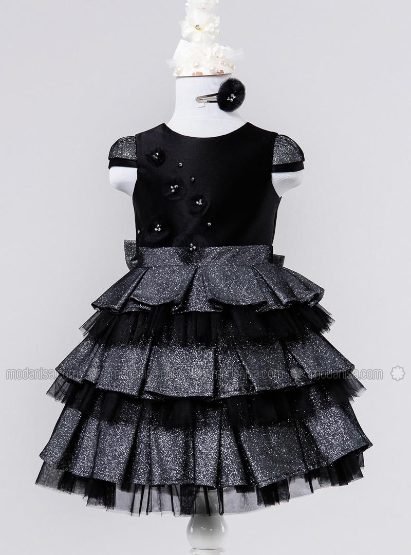 Multi - Crew neck - Fully Lined - Black - Girls` Dress