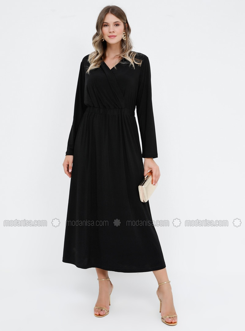 Black - Unlined - V neck Collar - Plus Size Dress