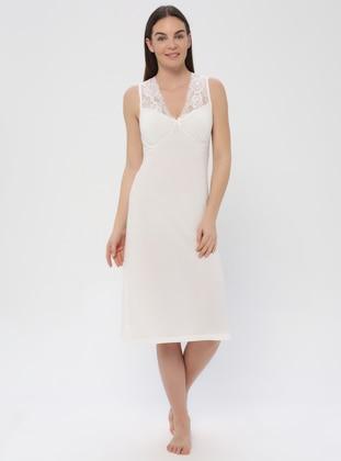 White - Ecru - V neck Collar - Cotton - Nightdress