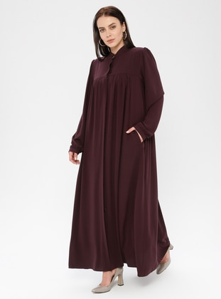 Plum - Crew neck - Fully Lined - Plus Size Abaya