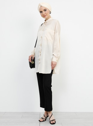 White - Ecru - Point Collar - Blouses - Refka