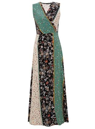 Mint - Floral - V neck Collar - Unlined - Viscose - Dress