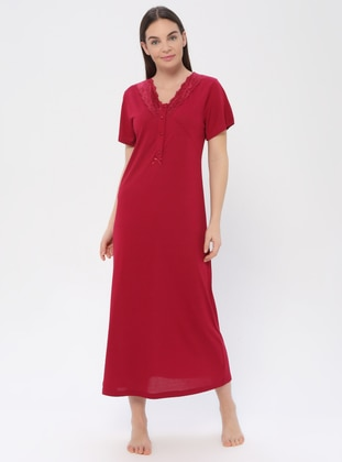 Maroon - Crew neck - Viscose - Nightdress - PILLOWTALK