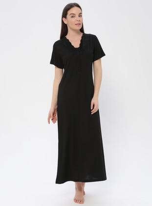 Black - Crew neck - Viscose - Nightdress