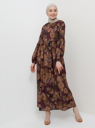 Plum - Multi - Crew neck - Unlined - Dress