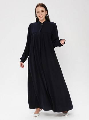 Navy Blue - Button Collar - Unlined - Plus Size Abaya
