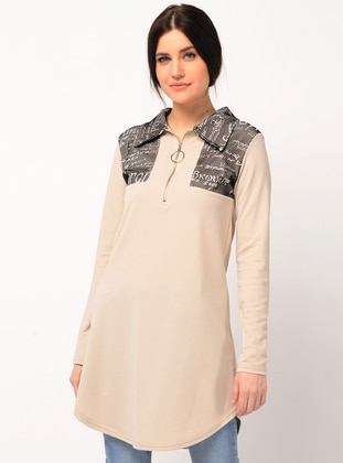 Beige - Multi - Point Collar - Tunic