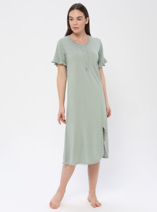 Green Almond - Crew neck - Viscose - Nightdress