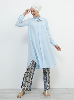 Blue - Baby Blue - Point Collar - Tunic