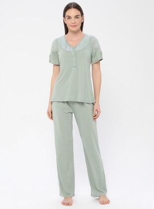 Green Almond - Crew neck - Viscose - Pyjama