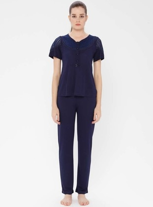Navy Blue - Crew neck - Viscose - Pyjama