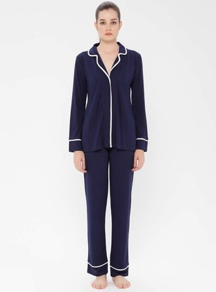 Navy Blue - V neck Collar - Viscose - Pyjama