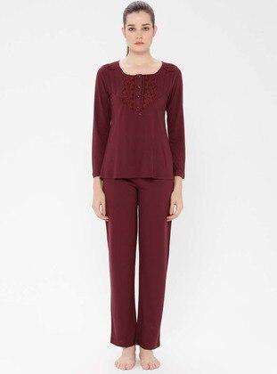 Plum - Crew neck - Viscose - Pyjama