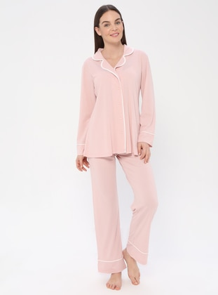 Powder - V neck Collar - Viscose - Pyjama