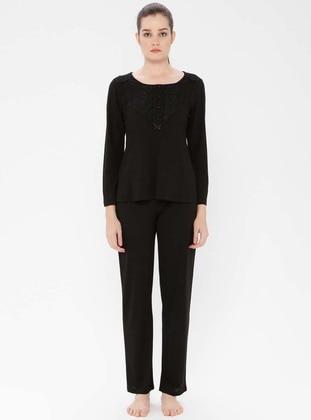 Black - Crew neck - Viscose - Pyjama