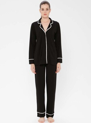 Black - V neck Collar - Viscose - Pyjama