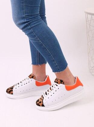 White - Orange - Leopard - Sport - Sports Shoes