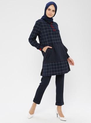 Navy Blue - Ecru - Stripe - Checkered - Unlined - Suit