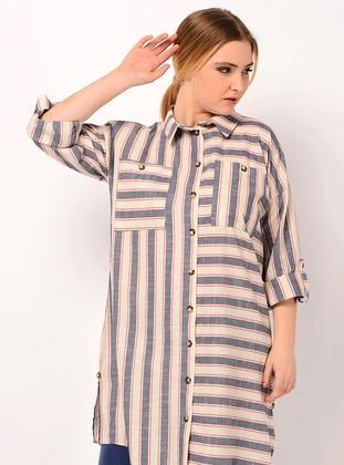 Indigo - Stripe - Point Collar - Linen - Blouses