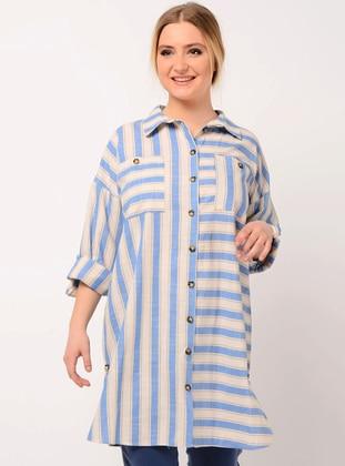 Blue - Stripe - Point Collar - Linen - Blouses