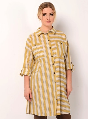 Yellow - Stripe - Point Collar - Linen - Blouses