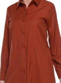 Maroon - Point Collar - Cotton - Blouses