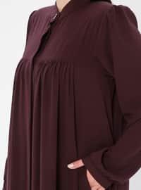 Plum - Crew neck - Fully Lined - Plus Size Abaya