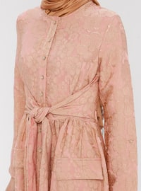 Pink - Floral - Crew neck - Unlined - Dress