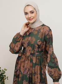 Haki - Çok renkli - Yuvarlak yakalı - Astarsız kumaş - Elbise