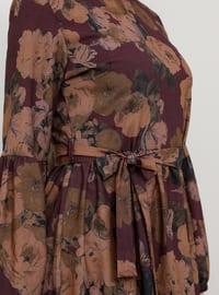 Plum - Multi - Crew neck - Unlined - Dress