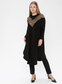 Black - Leopard - Crew neck - Plus Size Tunic