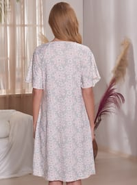 Pink - Multi - V neck Collar - Nightdress