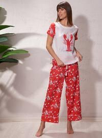 Red - White - Ecru - Crew neck - Multi - Pyjama
