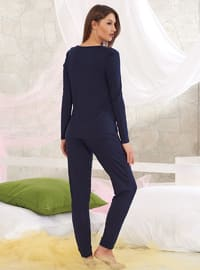 Navy Blue - V neck Collar - Pyjama