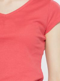 V neck Collar - Coral - T-Shirt