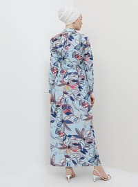 Baby Blue - Floral - Button Collar - Unlined - Dress