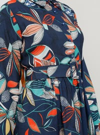 Navy Blue - Floral - Button Collar - Unlined - Dress