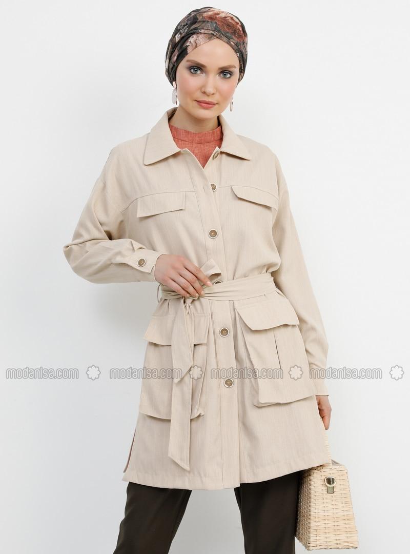 Beige - Stone - Unlined - Point Collar - Jacket